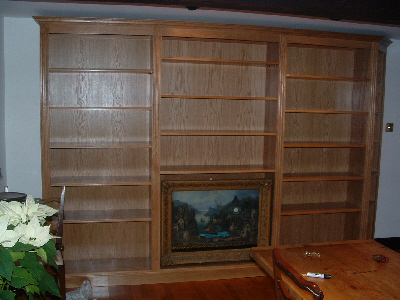 Oak book case with golden stain